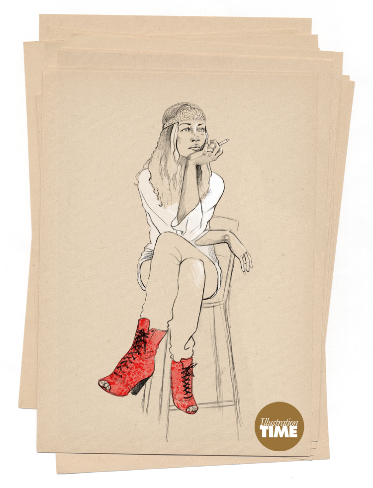 The girl with the red shoes