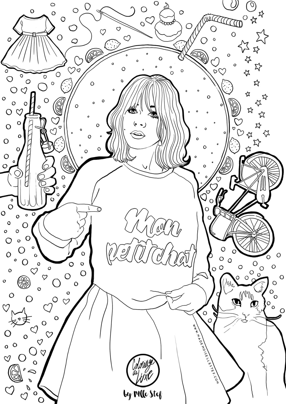 Coloriage make my lemonade i mademoiselle stef - Dessin de fille de mode ...