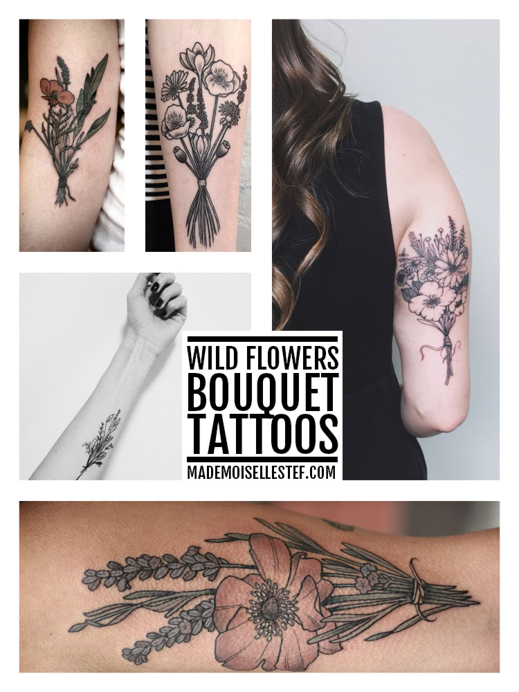 tattoo idea wild flowers bouquet