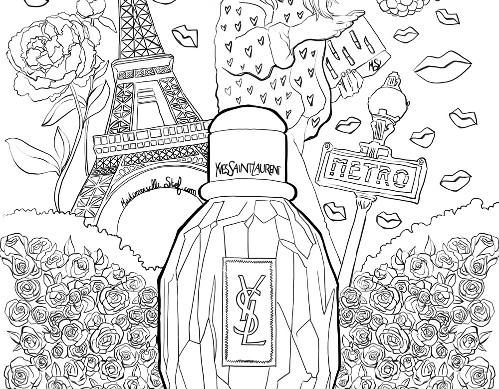 Coloriage : parfum Parisienne Yves Saint Laurent
