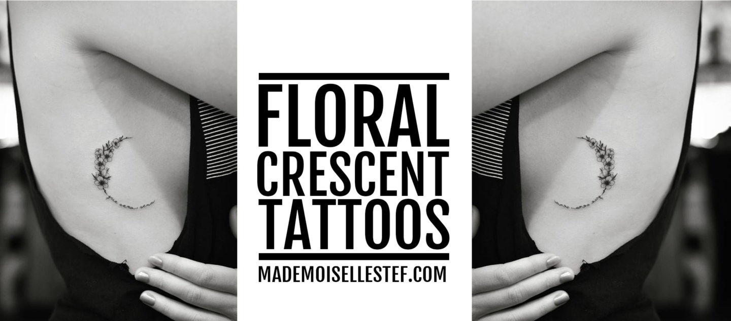 floral crescent tattoo idea