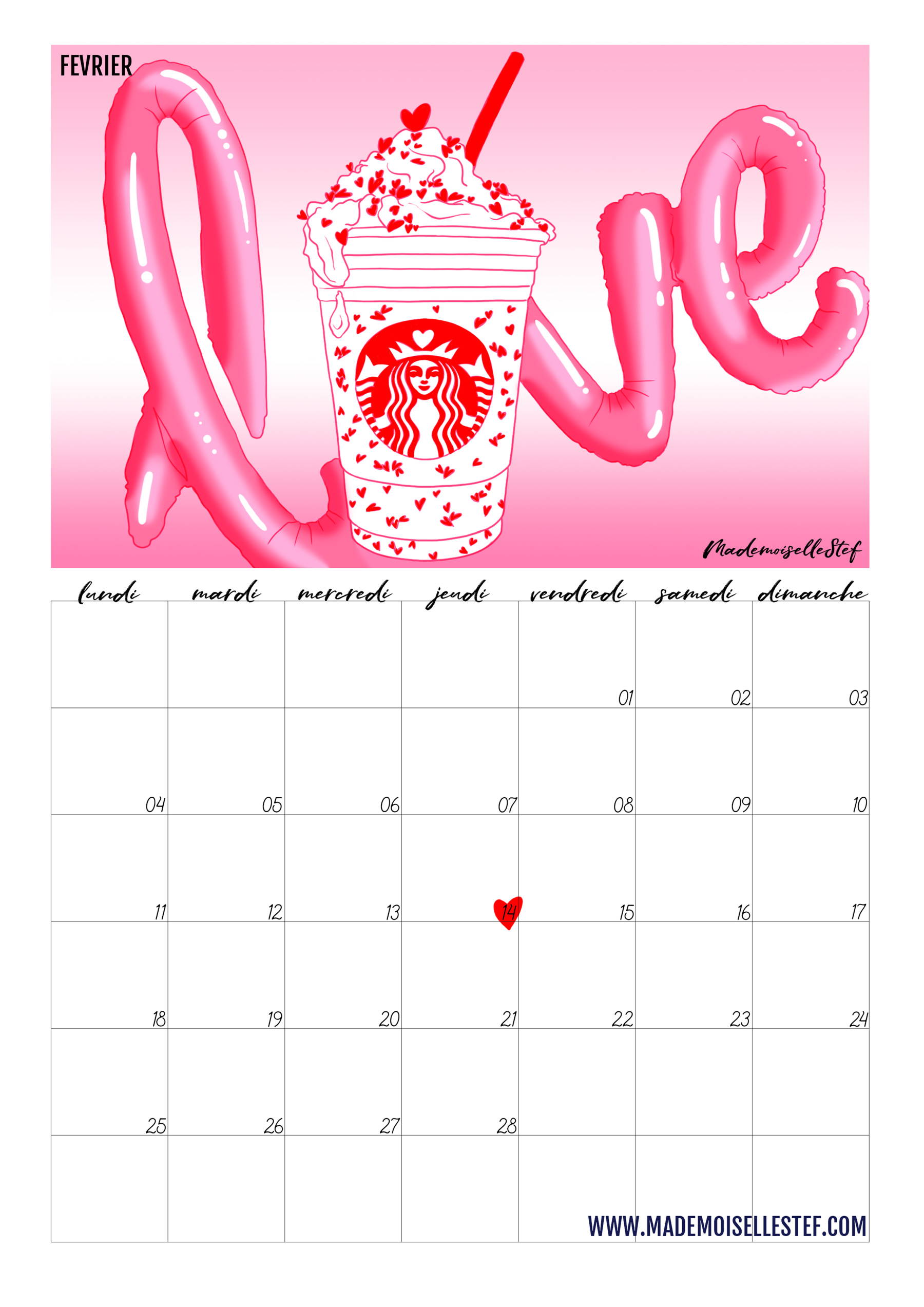 Fevrier Calendrier.Calendrier Fevrier 2019 Valentine S Day I Mademoiselle Stef