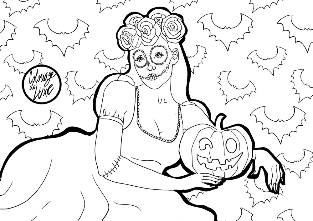 coloriage halloween chic