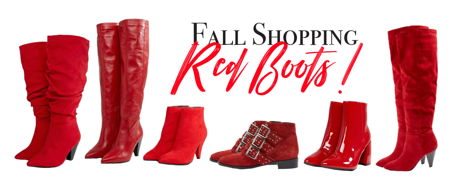 shopping red boots