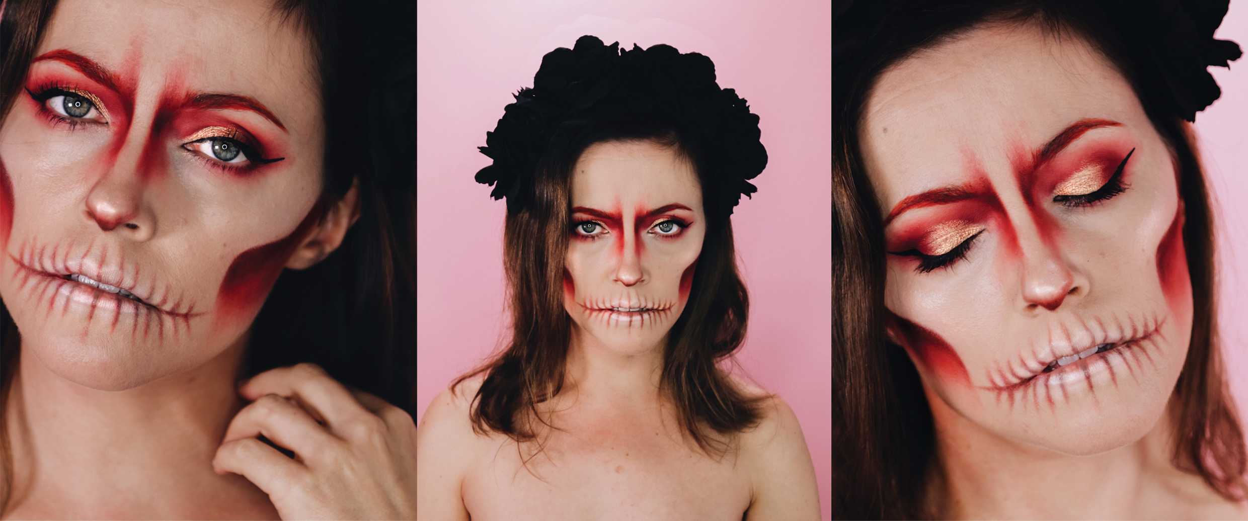 halloween makeup girly skull